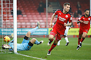 Crawley Town forward James Collins (19) celebrates his goal to make it 1-0 during the EFL Sky Bet League 2 match between Crawley Town and Newport County at the Checkatrade.com Stadium, Crawley, England on 17 December 2016. Photo by Andy Walter.