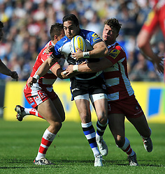 Horacio Agulla of Bath Rugby takes on the Gloucester defence - Photo mandatory by-line: Patrick Khachfe/JMP - Mobile: 07966 386802 16/05/2015 - SPORT - RUGBY UNION - Bath - The Recreation Ground - Bath Rugby v Gloucester Rugby - Aviva Premiership