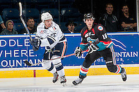 KELOWNA, CANADA - SEPTEMBER 9: Kole Lind #16 of Kelowna Rockets stick checks Cameron Reagan #25 of Kamloops Blazers during first period on September 9, 2016 at Prospera Place in Kelowna, British Columbia, Canada.  (Photo by Marissa Baecker/Shoot the Breeze)  *** Local Caption *** Kole Lind; Cameron Reagan;