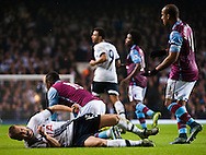Eric Dier of Tottenham Hotspur winces in pain after a late challenge by Jordan Ayew of Aston Villa \ during the Barclays Premier League match at White Hart Lane, London<br /> Picture by Jack Megaw/Focus Images Ltd +44 7481 764811<br /> 02/11/2015