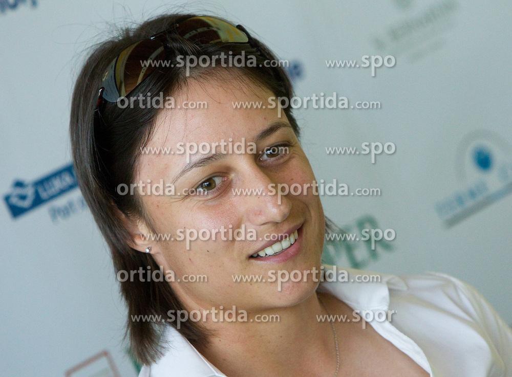 Slovenian player Katarina Srebotnik at press conference of Banka Koper Slovenia Open tennis tournament of Sony Ericsson WTA Tour, on July 13, 2010 at Mons hotel, Ljubljana, Slovenia. (Photo by Vid Ponikvar / Sportida)