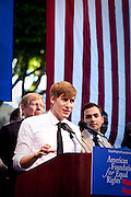 Dustin Lance Black, an American screenwriter, director, film and television producer, and LGBT rights activist addresses the crowd during a rally after Prop. 8 was proved unconstitutional and overturned by Judge Walker.
