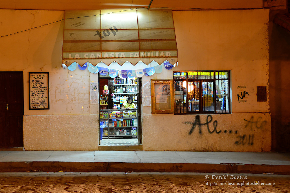 """La Canasta Familiar"" store front in Samaipata, Santa Cruz, Bolivia"
