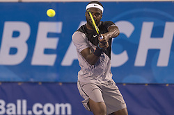 February 23, 2018 - Delray Beach, FL, United States - Delray Beach, FL - February 23: Francis Tiafoe (USA) defeats Hyeon Chung (KOR) 57 64 64during their quarter-finals match at the 2018 Delray Beach Open held at the Delray Beach Tennis Center in Delray Beach, Florida.   Credit: Andrew Patron/Zuma Wire (Credit Image: © Andrew Patron via ZUMA Wire)