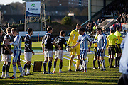 The sponsors signage falls down as players shake hands before Dundee v Kilmarnock, William Hill Scottish FA Cup 4th Round,..- © David Young - .5 Foundry Place - .Monifieth - .DD5 4BB - .Telephone 07765 252616 - .email; davidyoungphoto@gmail.com - .web; www.davidyoungphoto.co.uk.