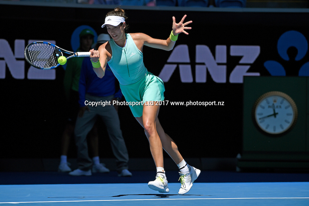 Garbine Muguruza (ESP) against Marina Erakovic (NZL) during round 1. January 16th 2017,  Melbourne Park, Melbourne, Australia; 2017 Australian Open Tennis Grand Slam tournament<br /> (C) Jeff Crow / STL / www.photosport.nz