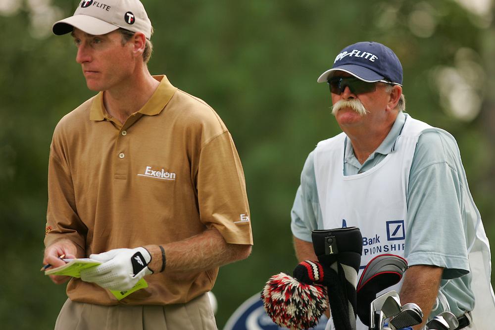 "Jim Furyk.Mike ""Fluff"" Cowan..2004 Deutsche Bank Championship.TPC of Boston.Norton, MA.Second Round.Saturday, September 6  2004..photograph by Darren Carroll"
