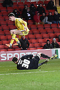 Charlton Athletic goalkeeper Nick Pope sheds the ball  during the Sky Bet Championship match between Charlton Athletic and Milton Keynes Dons at The Valley, London, England on 8 March 2016. Photo by Martin Cole.
