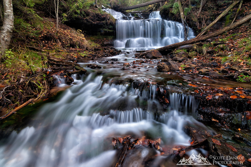 A short trail leads to Wagner Falls near Munising Michigan.