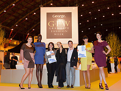 "© licensed to London News Pictures. Earl's Court, London UK  07/06/2011. ""All Walks"" ask universities to get ""Fashion Conscious"". Britain's first educational centre devoted to he promotion of diverse body shapes launches at Graduate Fashion Week. From left: Hayley Morley, Sheila Atim, Lynne Featherstone MP, Caryn Franklin, Andrew McClaren, Naomi Shimada and Lucy Jane. Please see special instructions for usage rates. Photo credit should read Bettina Strenske/LNP"