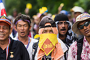 26 NOVEMBER 2013 - BANGKOK, THAILAND:  Thai anti-government protestors confront riot police in Bangkok. Protestors opposed to the government of Thai Prime Minister Yingluck Shinawatra spread out through Bangkok this week. Protestors have taken over the Ministry of Finance, Ministry of Sports and Tourism, Ministry of the Interior and other smaller ministries. The protestors are demanding the Prime Minister resign, the Prime Minister said she will not step down. This is the worst political turmoil in Thailand since 2010 when 90 civilians were killed in an army crackdown against Red Shirt protestors. The Pheu Thai party, supported by the Red Shirts, won the 2011 election and now govern. The protestors demanding the Prime Minister step down are related to the Yellow Shirt protestors that closed airports in Thailand in 2008.     PHOTO BY JACK KURTZ