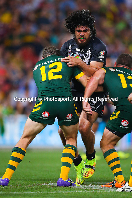 Tohu Harris during the Four Nations test match between Australia and New Zealand at Suncorp Stadium,  Brisbane Australia on October 25, 2014.