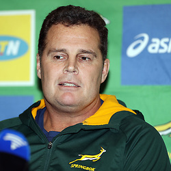 Rassie Erasmus during the South African (Springboks) media conference at the team hotel - Umfolozi 2 meeting room at  the Garden Court Umhlanga,Durban.South Africa. 13,08,2018 Photo by (Steve Haag)