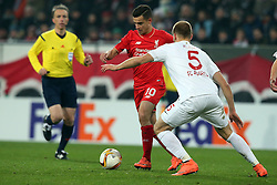 18.02.2016, WWKArena, Augsburg, GER, UEFA EL, FC Augsburg vs FC Liverpool, Sechzehntelfinale, Hinspiel, im Bild Coutinho ( FC Liverpool ) Ragnar Klavan ( FC Augsburg ) // during the UEFA Europa League Round of 32, 1st Leg match between FC Augsburg and FC Liverpool at the WWKArena in Augsburg, Germany on 2016/02/18. EXPA Pictures © 2016, PhotoCredit: EXPA/ Eibner-Pressefoto/ Langer<br /> <br /> *****ATTENTION - OUT of GER*****