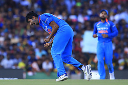August 20, 2017 - Dambulla, Sri Lanka - Indian cricketer Jasprit Bumrah celebrates after taking a wicket during the 1st One Day International cricket match bewtween Sri Lanka and India at Dambulla International cricket stadium situated in the Central Province and the first and only International cricket ground in the dry zone of Sri Lanka on Sunday 20 August 2017. (Credit Image: © Tharaka Basnayaka/NurPhoto via ZUMA Press)