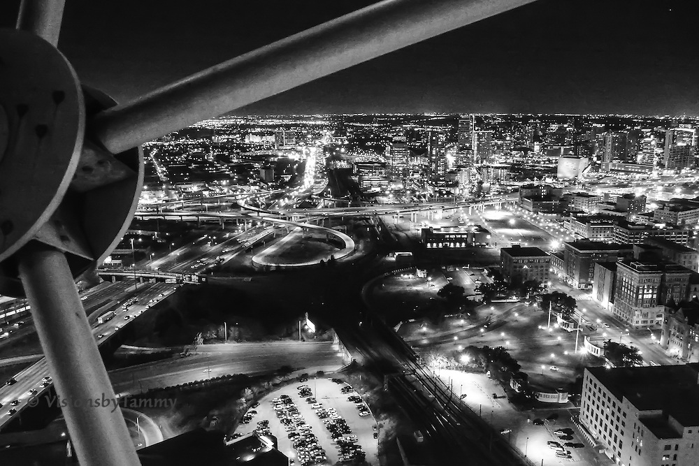 B&W Nighttime Dallas Cityscape, shot from Reunion Tower