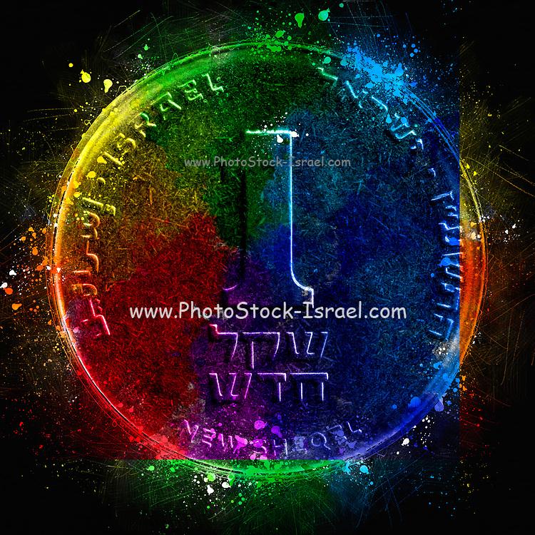 Digitally enhanced image of a One New Israeli Shekel coin (ILS or NIS)