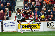 Shay Logan attempts to defend Igor Brancos cross during the Ladbrokes Scottish Premiership match between Heart of Midlothian and Aberdeen at Tynecastle Stadium, Gorgie, Scotland on 20 September 2015. Photo by Craig McAllister.