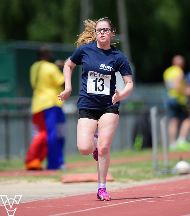 Metro Blind Sport's 2017 Athletics Open held at Mile End Stadium.  100m. Nell Doubledee<br /> <br /> Picture: Chris Vaughan Photography for Metro Blind Sport<br /> Date: June 17, 2017
