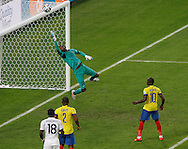 Alexander Dominguez of Ecuador tips over a header from Paul Pogba of France in the 1st half during the 2014 FIFA World Cup Group E match at Maracana Stadium, Rio de Janeiro<br /> Picture by Andrew Tobin/Focus Images Ltd +44 7710 761829<br /> 25/06/2014