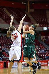 06 December 2008: Mary Lawson maneuvers a shot against Nicole Lewis during a game between the Eastern Michigan Eagles and the Illinois State Redbirds on Doug Collins Court inside Redbird Arena on the campus of Illinois State University, Normal Il.
