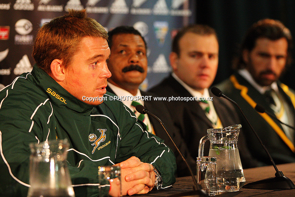 Springboks captain John Smit talks to the media at the post-match press conference.<br /> Philips Tri Nations, All Blacks vs South Africa at Westpac Stadium, Wellington, New Zealand, Saturday 5 July 2008. Photo: Dave Lintott/PHOTOSPORT