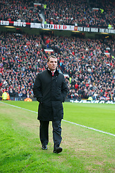 MANCHESTER, ENGLAND - Sunday, January 13, 2013: Liverpool's manager Brendan Rodgers before the Premiership match against Manchester United at Old Trafford. (Pic by David Rawcliffe/Propaganda)
