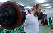Tomasz Majewski while his training session at Sport's Academy (AWF) in Warsaw..Tomasz Majewski is a Polish shot putter and a double Olympic gold medalist..Poland, Warsaw, March 01, 2013..Picture also available in RAW (NEF) or TIFF format on special request...For editorial use only. Any commercial or promotional use requires permission...Photo by © Adam Nurkiewicz / Mediasport