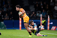 SYDNEY, AUSTRALIA - MAY 25: Jaguares player Jeronimo De La Fuente (12) tackled by Waratahs player Adam Ashley-Cooper (13) at week 15 of Super Rugby between NSW Waratahs and Jaguares on May 25, 2019 at Western Sydney Stadium in NSW, Australia. (Photo by Speed Media/Icon Sportswire)