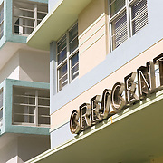 The Crescent Hotel on Ocean Drive in South Beach, Miami. This art deco hotel was designed by Henry Hohauser in 1938.