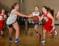 Belmont's Isabelle McDonald attempts to knock the ball loose from Laconia's Sierra Halligan during Sunday morning's senior girls championship game of the 22nd annual Francoeur Babcock Memorial Basketball Tournament at Gilford Middle School.  (Karen Bobotas/for the Laconia Daily Sun)