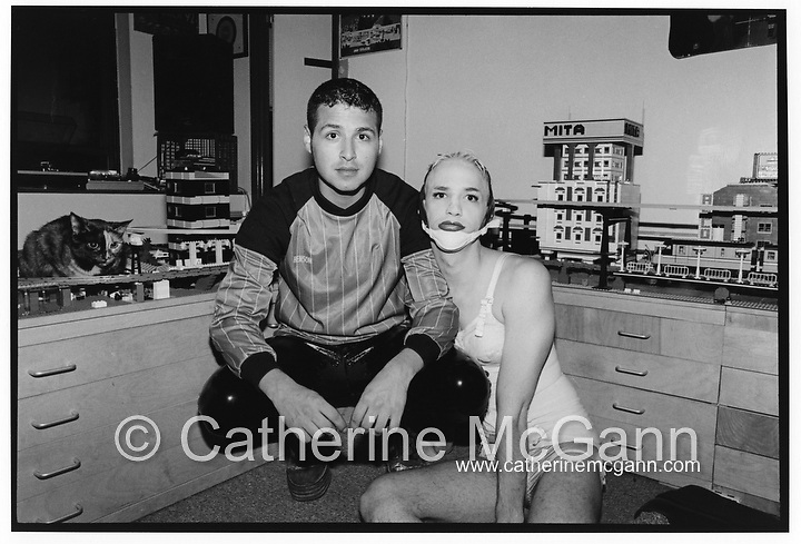 Michael Alig (R) and Superstar DJ Keoki pose for a portrait in front of Alig's Lego collection in their apartment in May 1992 in New York City.<br /> <br /> Copyright Catherine McGann / All Rights Reserved<br /> www.catherinemcgann.com<br /> catherinemcgann@gmail.com