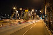 The Hawthorne Bridge (built 1910) heading into downtown Portland, Oregon.