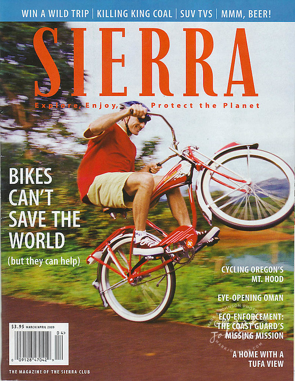 Sierra Club cover photo of cyclist pulling Wheely