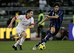 Bari (BA), 03-02-2011 ITALY - Italian Soccer Championship Day 23 - Bari VS Inter..Pictured: Ranocchia (I) Bentivoglio (B)..Photo by Giovanni Marino/OTNPhotos . Obligatory Credit