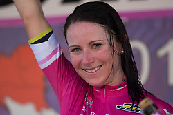 Annemiek van Vleuten (NED) of Orica Scott Cycling Team celebrates retaining the purple points jersey after Stage 8 of the Giro Rosa - a 141.8 km road race, between Baronissi and Centola fraz. Palinuro on July 7, 2017, in Salerno, Italy. (Photo by Balint Hamvas/Velofocus.com)