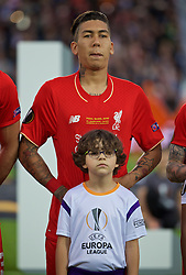 BASEL, SWITZERLAND - Wednesday, May 18, 2016: Liverpool's Roberto Firmino lines-up before the UEFA Europa League Final against Sevilla at St. Jakob-Park. (Pic by David Rawcliffe/Propaganda)