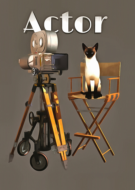 Lights! Camera! Action! This vintage-style filmmaking camera is a nice contrast to the Siamese cat that is featured in this unique fine art offering. The cat is clearly the star of the show. You can get a sense of that with the way the cat maintains a certain poise, and a certain understanding of everything that is going on. This cat knows it is a star, and it won't perform until it is good and ready! The detail in this piece is what gives this art such a distinctive flair. This cat is a brilliant actor, and it's a shame that we can't see that for ourselves!