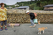 Aoshima, Ehime prefecture, September 4 2015 - Local residents waiting for the arrival of the boat.<br /> Aoshima (Ao island) is one of the several « cat islands » in Japan. Due to the decreasing of its poluation, the island now host about 6 times more cats than residents.