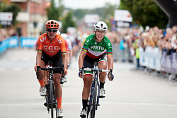 Marta Bastianelli (ITA) beats Marianne Vos (NED) to the line in a close sprint finish at Postnord UCI WWT Vårgårda WestSweden Road Race, a 145.3 km road race in Vårgårda, Sweden on August 18, 2019. Photo by Sean Robinson/velofocus.com
