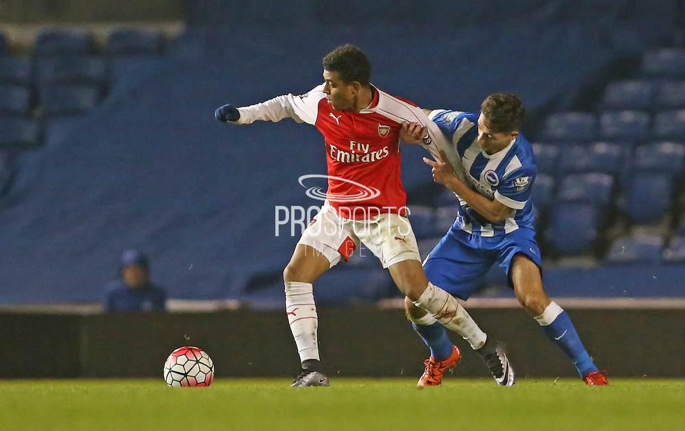 Arsenal U21 striker Stephy Mavididi during the Barclays U21 Premier League match between Brighton U21 and Arsenal U21 at the American Express Community Stadium, Brighton and Hove, England on 1 December 2015.