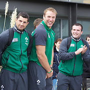 The Irish Rugby team react to the official maori welcome as the The Irish Rugby Team arrive at Queenstown airport, for the IRB Rugby World Cup 2011, Queenstown, New Zealand, 1st September 2011. Photo Tim Clayton....