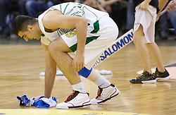 Edin Bavcic (9) of Olimpija cleaning the floor at Euroleague basketball match in 6th Round of Group C between KK Union Olimpija and Maccabi Tel Aviv, on December 3, 2009, in Arena Tivoli, Ljubljana, Slovenia. Maccabi defeated Union Olimpija 82-65. (Photo by Vid Ponikvar / Sportida)