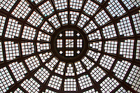 A view upwards to the the glass dome in the old shopping arcade in Leipzig, Germany.