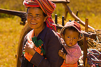 Grandmother and baby, Pao tribe people, Shan State, Myanmar (Burma)