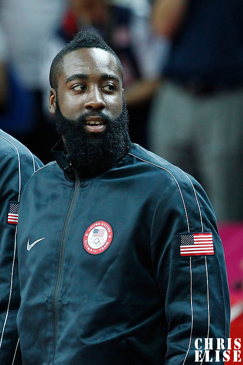 12 August 2012: USA James Harden stands during the medals ceremony following the 107-100 Team USA victory over Team Spain, during the men's Gold Medal Game, at the North Greenwich Arena, in London, Great Britain.