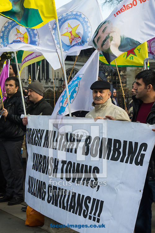 Kurds demonstrating against the visit of Turkish Prime Minister Ahmet Davutoglu as he attends the <br /> Syria Conference at QEII Centre, Westminster<br /> Picture by Paul Davey/Focus Images Ltd +447966 016296<br /> 04/02/2016