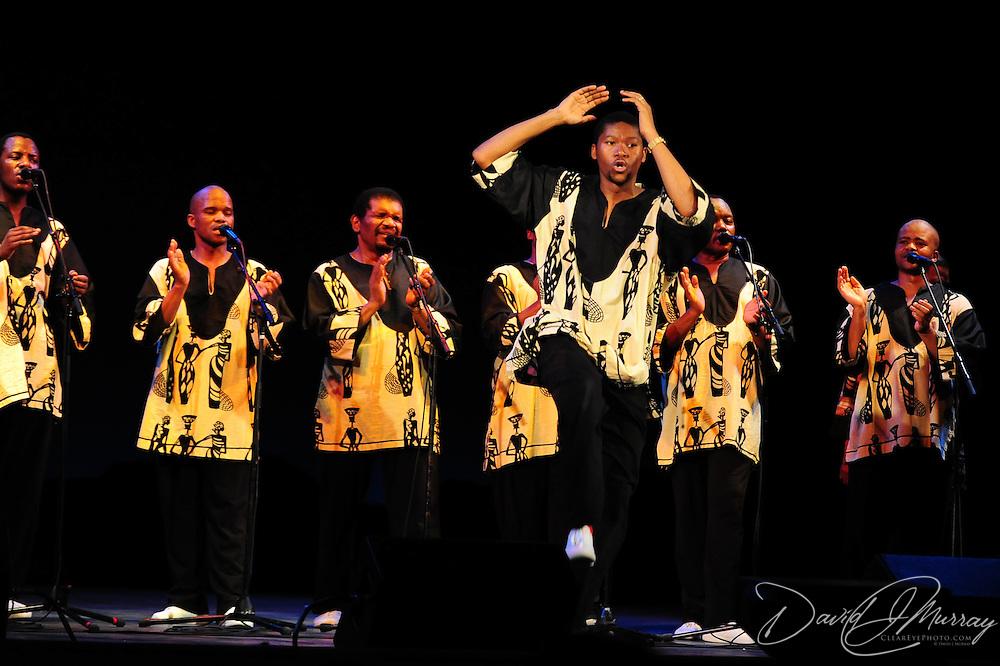 Ladysmith Black Mambazo member Thamsanqa Shabalala (C)  performing at The Music Hall, Portsmouth, NH