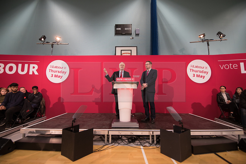 © Licensed to London News Pictures . 22/03/2018. Manchester, UK. JEREMY CORBYN and ANDREW GWYNNE host a Q&A as Jeremy Corbyn and Shadow Cabinet members launch the Labour Party's local election campaign at Stretford Sports Village in Trafford . Photo credit: Joel Goodman/LNP