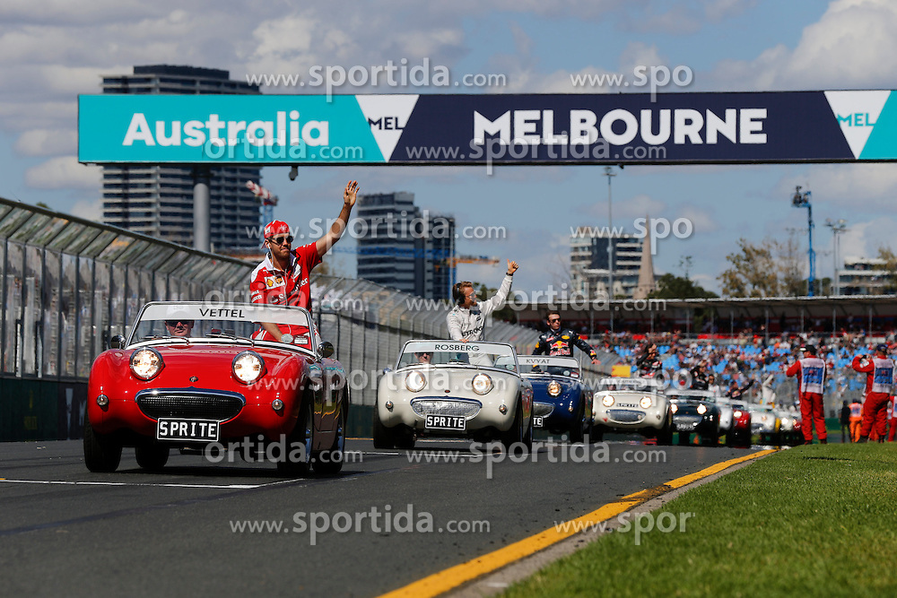 20.03.2016, Albert Park Circuit, Melbourne, AUS, FIA, Formel 1, Grand Prix von Australien, Rennen, im Bild Sebastian Vettel (GER) Ferrari on the drivers parade // during Race for the FIA Formula One Grand Prix of Australia at the Albert Park Circuit in Melbourne, Australia on 2016/03/20. EXPA Pictures &copy; 2016, PhotoCredit: EXPA/ Sutton Images/ Gasperotti/<br /> <br /> *****ATTENTION - for AUT, SLO, CRO, SRB, BIH, MAZ only*****